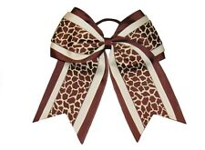 "NEW ""BROWN GIRAFFE"" Cheer Hair Bow Pony Tail 3 Inch Ribbon Girls Cheerleading"