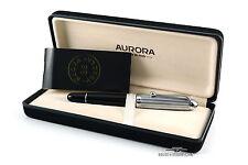 Aurora 88 806 Chrome & Black Resin Fountain Pen - 14k Gold Medium Nib