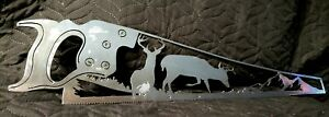 Metal Wall Art- DETAILED Saw with Deer and Mountain Scene