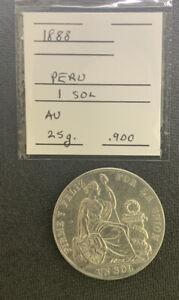 Peru 1888 1 Sol XF/AU / 25 Gr .900 Silver Crown & *No Reserve!