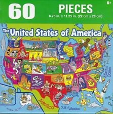 """Jigsaw Puzzle USA MAP 50 United States of America 60 Pieces 8.75"""" x 11.25"""" S6-G"""