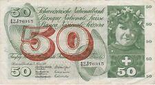 More details for p48m switzerland 1973 50 franken banknote in very fine condition.