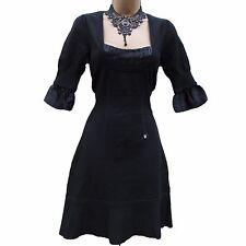 KAREN MILLEN Black KNITTED & SILK Trim CASUAL SMART PARTY JUMPER DRESS KM 1/UK 8