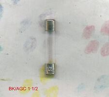 BUSSMAN BK/AGC 1 1/2  FUSE  250  VOLT 1 1/2  AMP (PKG 5)