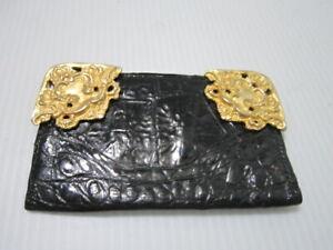 Glen Miller for Ann Turk Black Leather Wallet Gold Trim Credit Card Case