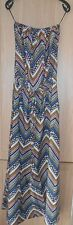 Atmosphere Blue White & Tan Abstract Print Strapless Bandeau Dress size 10
