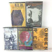 Lot of 5 Vintage R.E.M Cassette Tapes - Green, Eponymous, Pageant, Fables, No 5