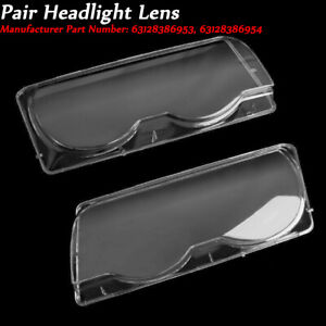 Headlight Lens Cover Headlamp Lenses L&R For BMW 7 Series E38 Facelift 1999-2001