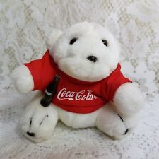 "1997 Coca Cola Plush Polar Bear Red T-Shirt Coke Bottle 4"" Stuffed Animal Toy"