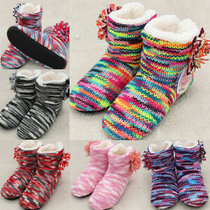 Women's Striped Printed Flowers Slippers Indoor Shoes Ankle Boots Winter Warmer