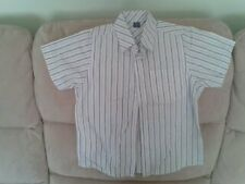 Boys 4 Years - White & Blue Striped Short Sleeve Shirt - TU