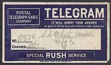 United States special Rush Service TELEGRAM