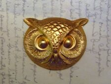 (1) - Ff1473 Jewelry Finding Large Raw Brass Owl Head Stamping