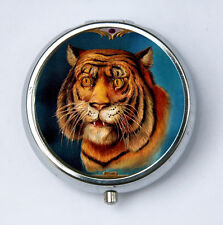 Tiger PILL CASE pillbox holder zoo animal wild hipster eye of the tiger