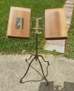 Antique Book Dictionary Music Stand LA VERNE W NOYES Chicago Illinois Iron Metal