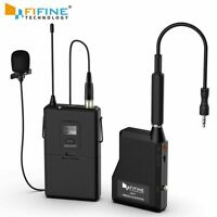 Fifine 20-Channel UHF Wireless Lavalier Lapel Microphone System with Bodypack