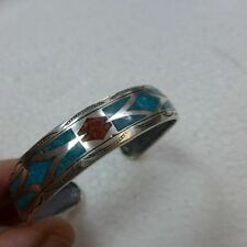 Indianerschmuck Armreif Bangle 925 Silber Türkis Koralle Handarbeit