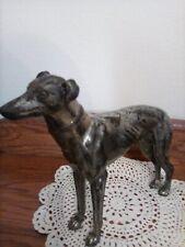 "Vintage Silver Medal Greyhound-Whippet Dog Figurine 7"" H 7.5"" L"