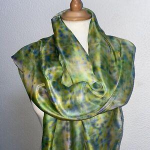Long Silk Scarf in GreensBlue 180 x 45 cm Hand Painted & Dyed Silk Designer Silk