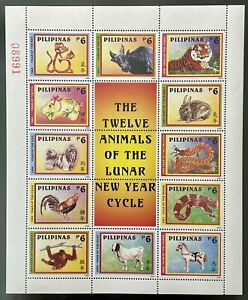PHILIPPINES LUNAR NEW YEAR STAMPS 2004 MNH 12 ANIMALS LUNAR NEW YEAR DRAGON OX