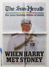 WHEN PRINCE HARRY MET SYDNEY AUSTRALIA - HERALD PAPER POSTER - 2013 ROYAL FAMILY