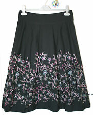 MARKS & SPENCER UK8 EU36 BLACK LINED SKIRT WITH BRIGHT EMBROIDERY AND SEQUINS
