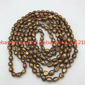 Freshwater Pearl Brown Color Baroque 8-9mm Necklace Long 35''