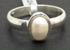 Real pearl ring solid Sterling Silver, freshwater, UK size M 1/2. New. Oval.