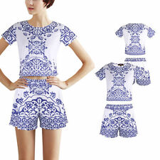 Women's Polyester Crew Neck Short Sleeve Summer/Beach Dresses