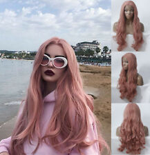 "24"" Women Heat Safe Fiber Hair Cosplay Lace Front Wig Long Wavy Smoke Pink"
