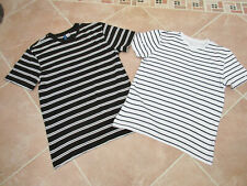 New Look / Divided - 2 x Mens Black / White Mix Short Sleeved T shirts - XS / S
