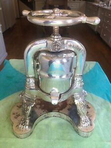 Rare French Antique Silver Plated Duck Press, Desenne Paris, Early 1900'S