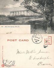 NILES OH MAIN STREET BRIDGE 1905 UNDIVIDED ANTIQUE POSTCARD CORK CANCEL