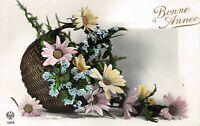 Carte Fantaisie Panier de fleur bonne année