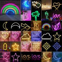 LED Neon Sign Lamp USB/Battery Power XMAS Wedding Decor Night Lights Kids Gifts