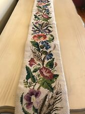 Pretty Floral Needlepoint Tapestry Wall hanging Long Bell? Multi Color Flowers