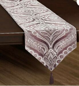 J. Queen N.Y. Gianna 108 Inches Paisley Table Runner in Lavender   [C-3056]