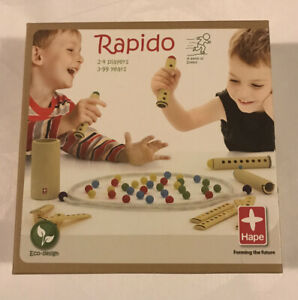 Rapido 100% Natural Bamboo Colored Ball Collection Game by Hape Ages 4+ EUC
