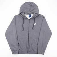 NIKE Grey Embroidered Logo Casual Full Zip Pullover Hoodie Men's Size XL
