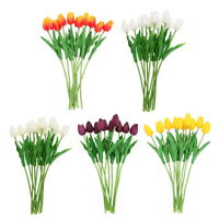 10 Head Latex Real Touch Tulip Flowers Home and Wedding Party Bouquet Decor r#