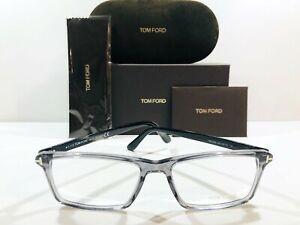 Tom Ford Men's TF5408 020 Transparent Gray Horn Eyeglasses Frame Authentic 56mm