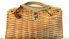 Skacny Import Straw Basket Leather Handle Pocketbook Purse Bag1950's