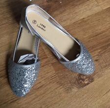 1990 Londres para mujeres Zapatos Damas Plata Brillante Bailarinas Flats Size UK 6