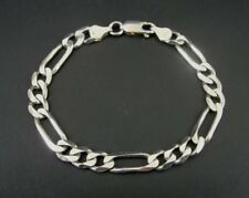 """Figaro Chain Sterling Silver 925 Link Italy Bracelet 7"""" Long"""