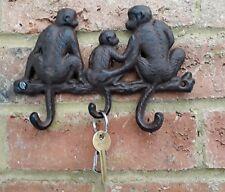 Monkey Hook Wall Rack Key Cast Iron Metal Hallway Tidy Kitchen Shabby 19cm New