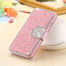 Pink Bling Rhinestone Magnetic Leather Card Holder Case Cover For iPhone 7 Plus