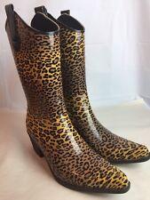 Women's Corkys Rubber Rain Boots Leopard Cheetah Animal Print Cowboy Size 11