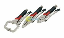 3Pc Set Of Mole Type Mini Locking Grip Pliers Clamp Welding Car Garage Tool New