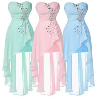 Girls Short Long Bridesmaid Chiffon Dress Evening Cocktail Prom Party Ball Gowns