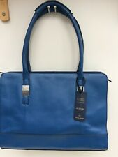 M&S Large Handbag Blue Leather Tote, Grab Bag, New With Tags